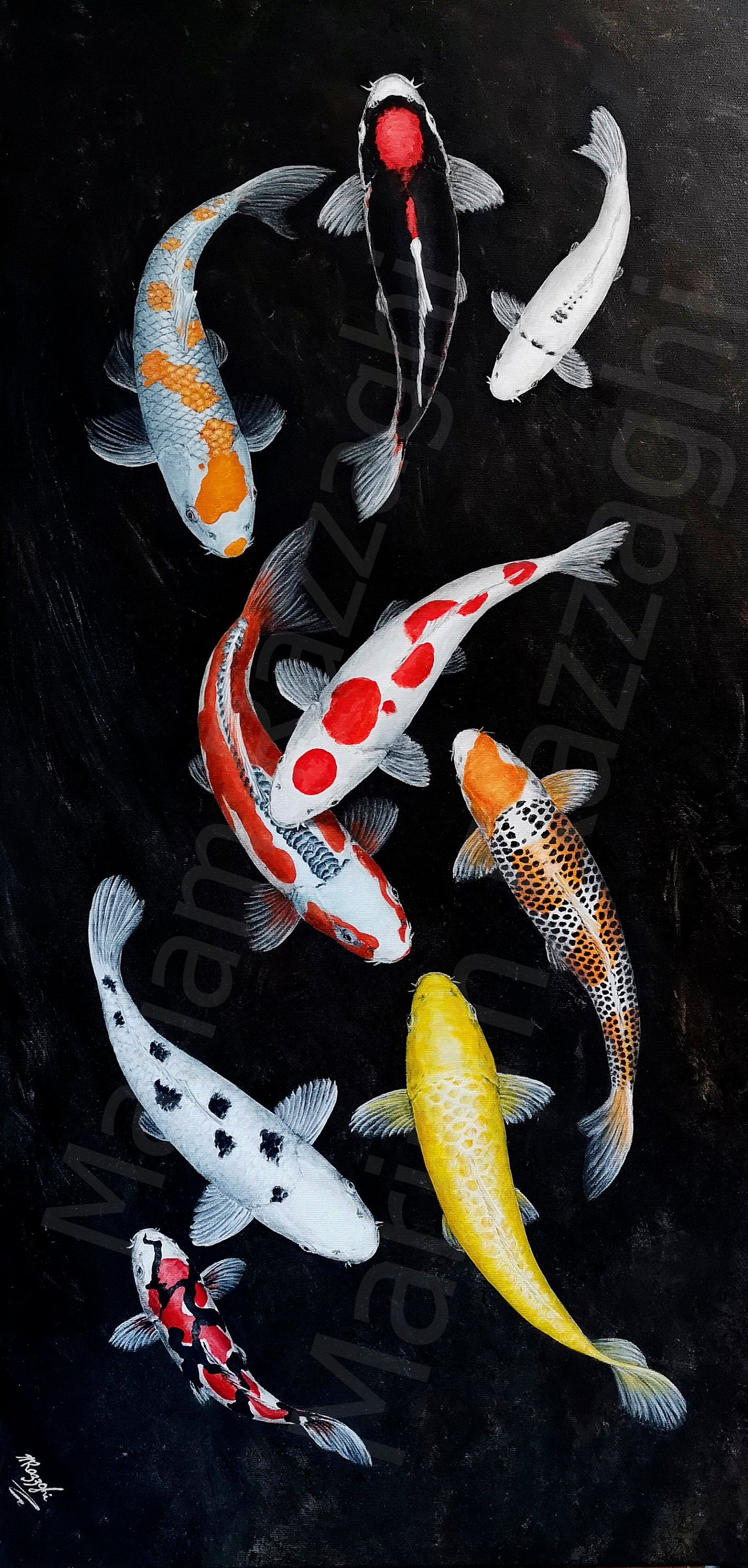 Koi Original Painting By Mariam Razzaghi Lucky 9 Mix 50x100cm Images, Photos, Reviews