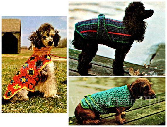 Three (3) DOG Crochet PATTERNS - Dog Sweaters - Dog Jackets - Dog ...