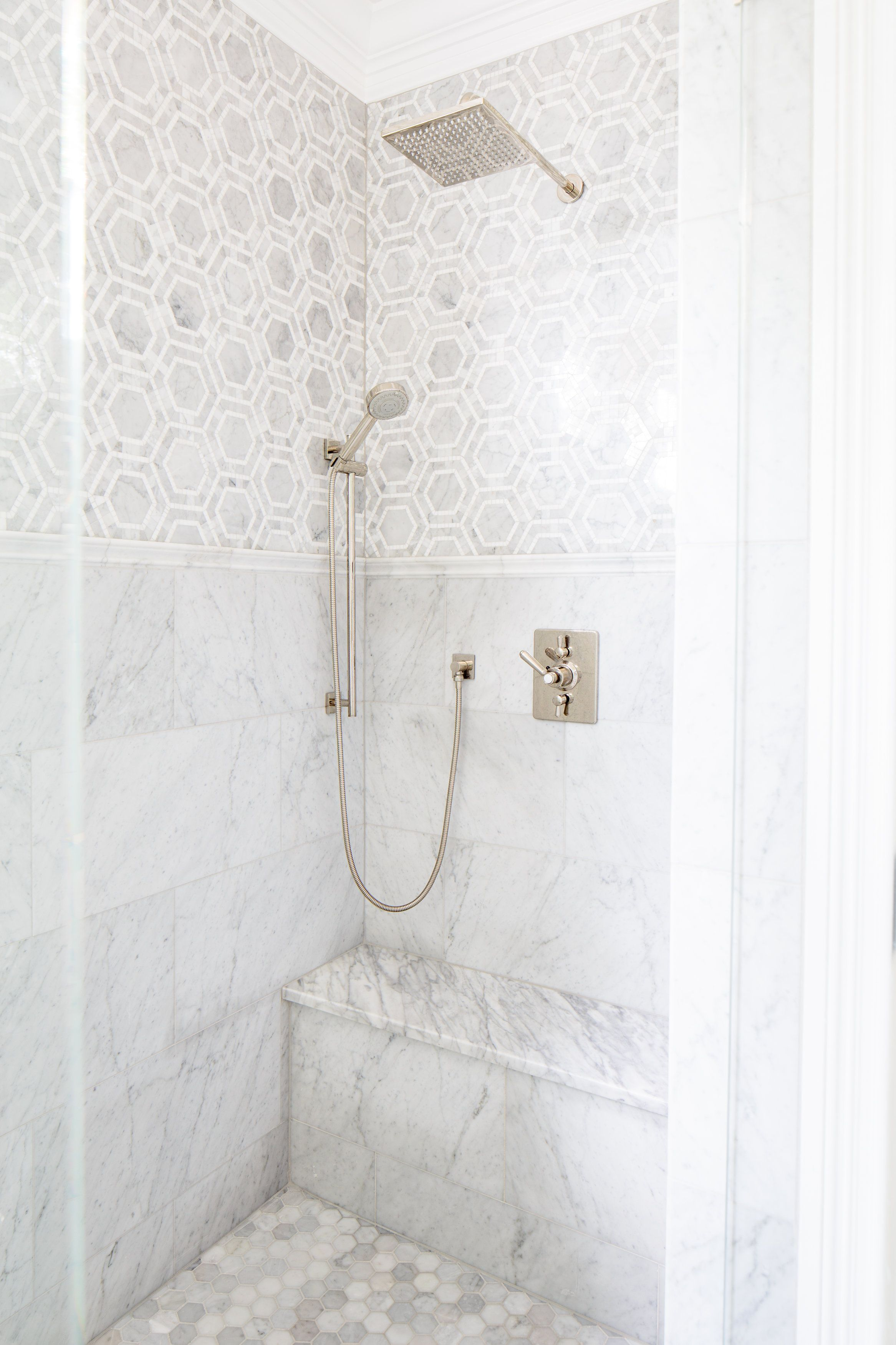 Grey And White Marble And Tile Mix Natalie Clayman Design Marble Tile Bathroom Bathrooms Remodel Bathroom Design