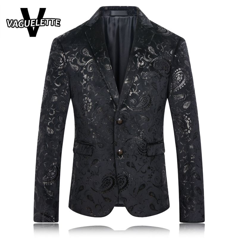 Black Blazer Men Paisley Floral Pattern Wedding Suit Jacket Slim ...