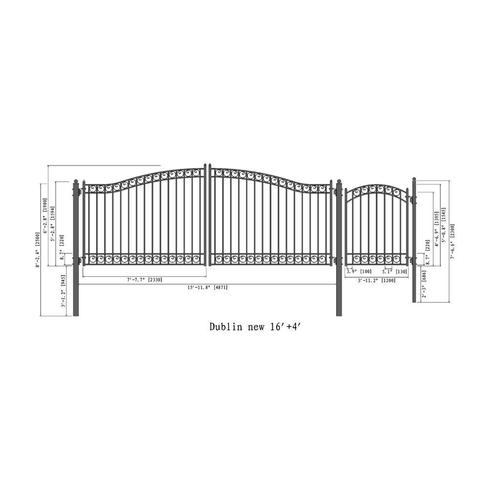 Steel Dual Swing Driveway Gate Dublin Style 16 Ft With Pedestrian Gate 5 Ft Aleko Driveway Gate Metal Driveway Gates Single Swing