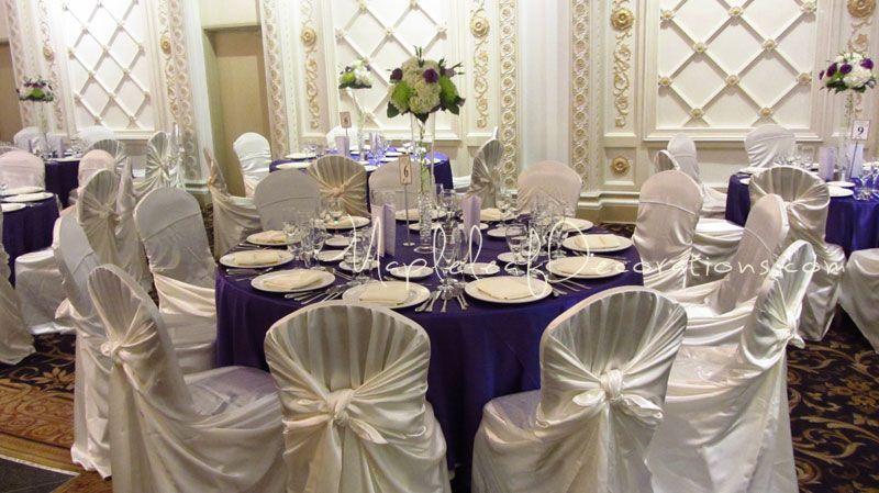 Banquet Table Decorations Decor Guest Purple Satin Linens 4