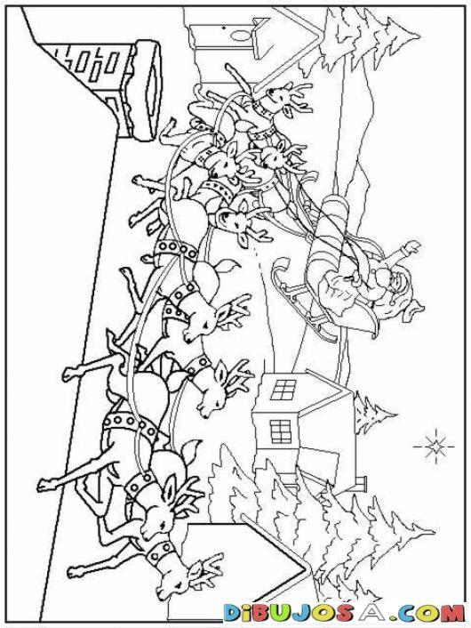 Dibujo De Santa Claus En Su Trineo Para Colorear | COLOREAR DIBUJOS ...