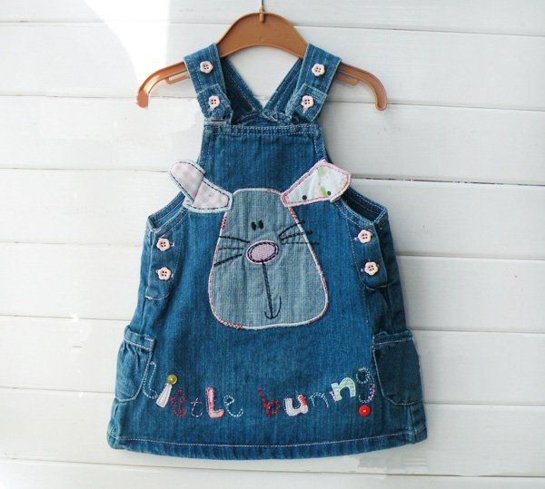 ec06dae9ae New arrival 5pcs Name brand cute Baby girl denim dress,kids jean ...