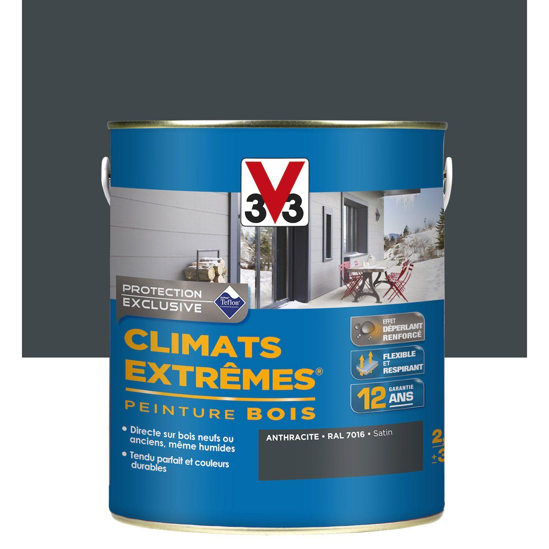 Peinture Bois Extérieur Climats Extrêmes V33, Gris Anthracite, 2.5 L