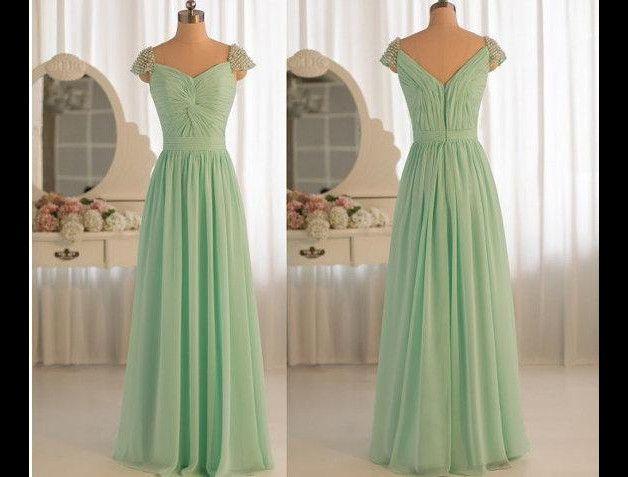 Gorgeous Mintgrün chiffon Lang Abendkleid | Abendkleid ...