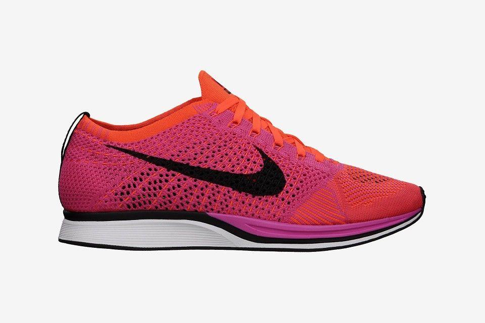 best sneakers f74a6 84cf6 Zapatos Nike Flyknit Racer Mujer 52508-429 Rosa Rojo Hiper Negro Zapatillas  running Descuento España Online