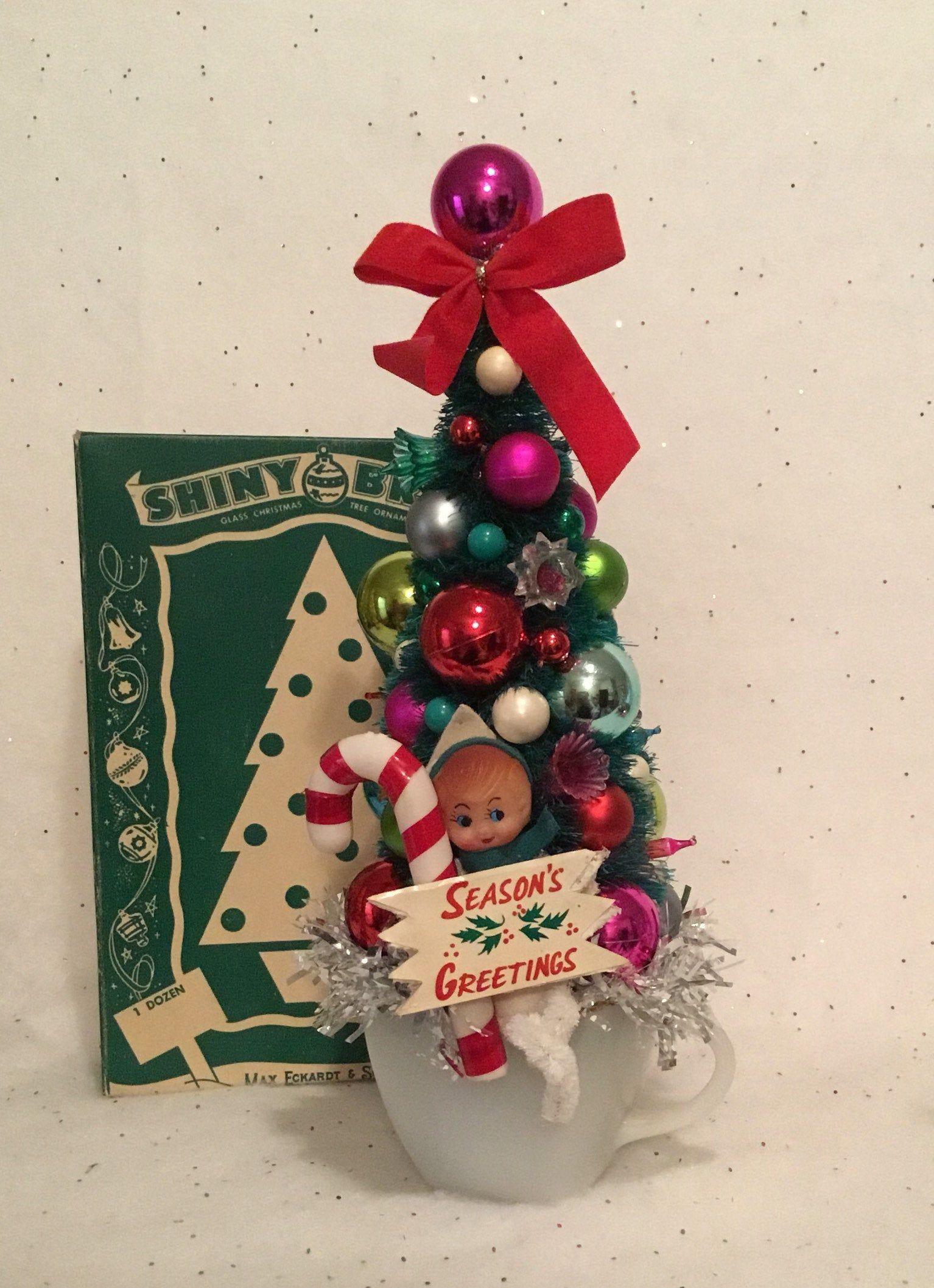 Christmas Elf Bottle Brush Tree Vintage Inspired Ornament Tree Holiday Tabletop Tree Decor Diy Christmas Ornaments Vintage Christmas Crafts Christmas Towels