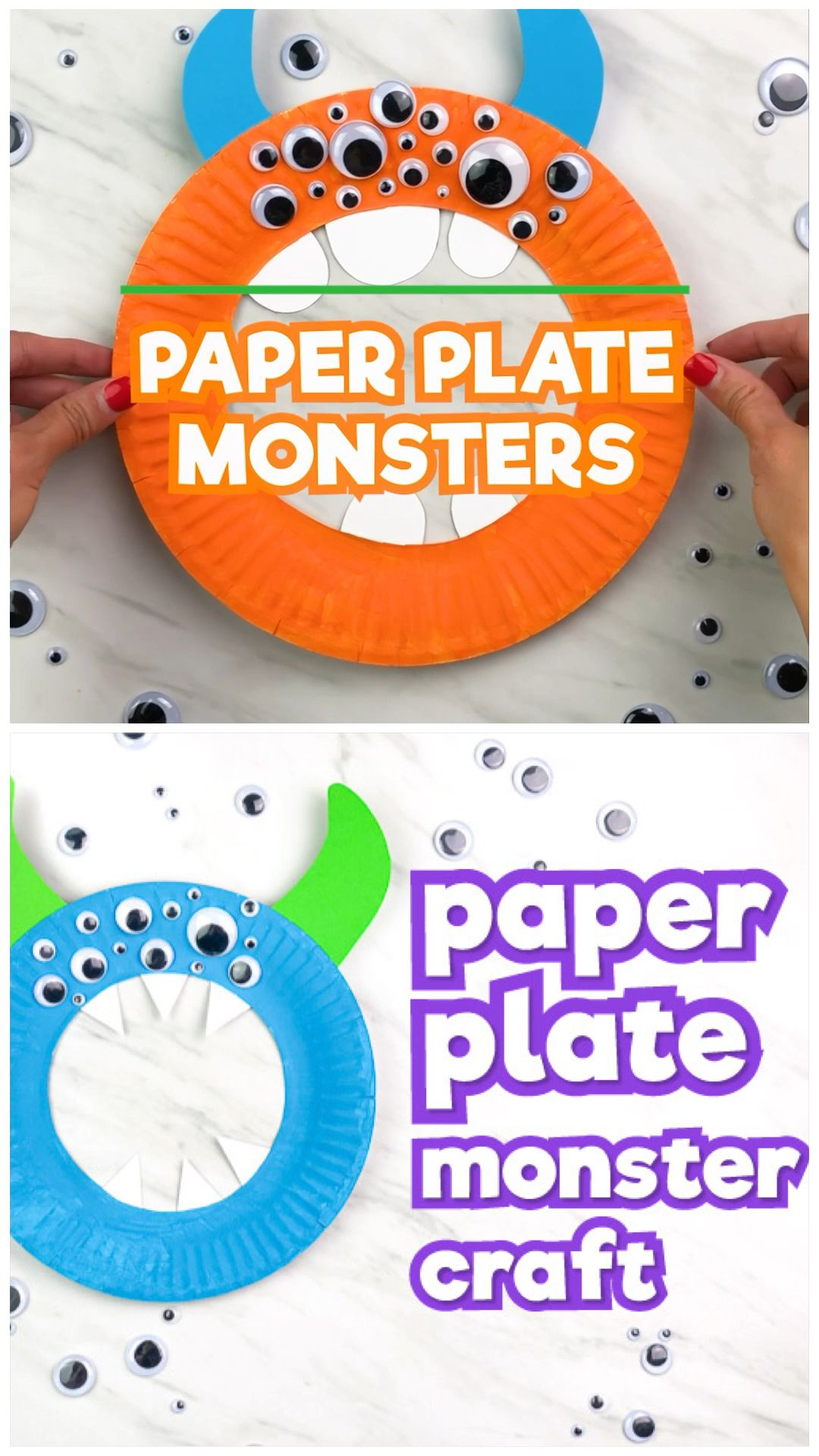 This paper plate monster craft is a fun and easy Halloween craft kids will love to make. It's a great activity for classroom parties or for kids to make at home. Works well with preschool, prek and kindergarten children or for elementary kids. Plus, it comes with a free printable template.   #simpleeverydaymom #paperplatecrafts #kidscrafts #craftsforkids #kidsactivities #monstercrafts #halloween #halloweencraftsforkids #holidays #preschoolers #prek #kindergarten