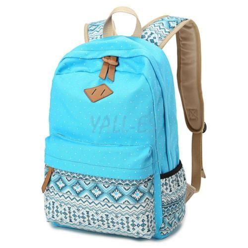 f012a11c220 Fashion Girl Canvas Shoulder School Backpack Travel Satchel Rucksack ...