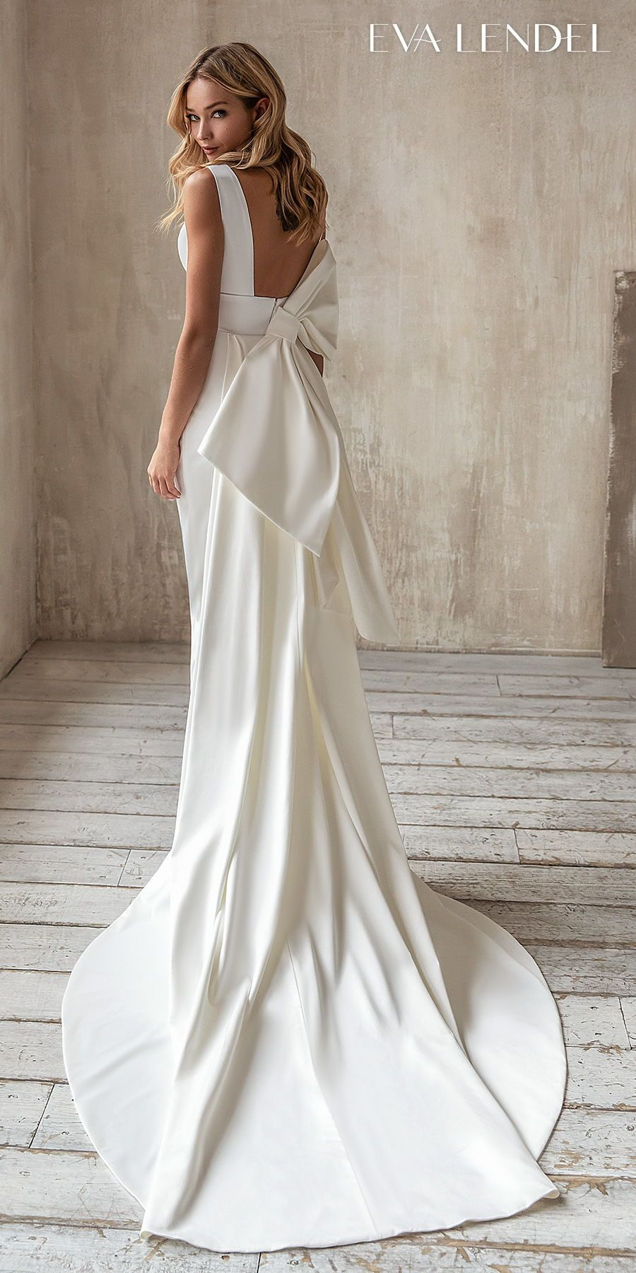 Eva Lendel 2021 Wedding Dresses Less Is More Bridal Collection Wedding Inspirasi Bow Wedding Dress Satin Wedding Gown Elegant Wedding Dress [ 1800 x 900 Pixel ]