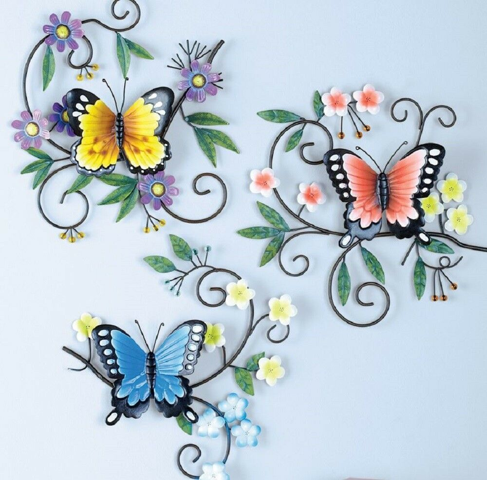 Hanging Butterfly Plaques 3d Wall Art Set Of 3 Sculptures Hall Porch Home Decor Unbranded Artdec Metal Butterfly Wall Art Flower Wall Art Butterfly Wall Art