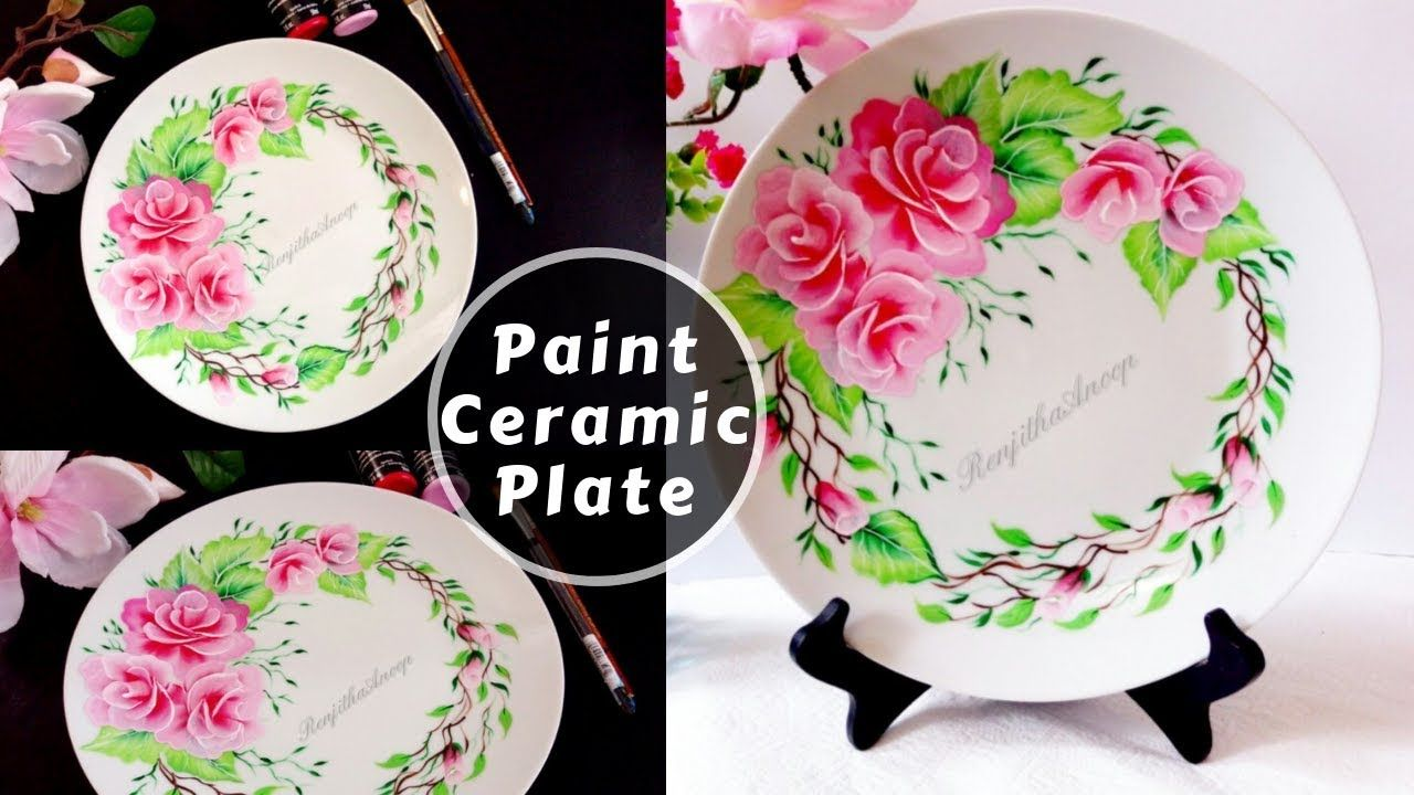 How To Paint Rose On Ceramic Plate Multi Surface Acrylic Painting Diy Youtube Pottery Painting Designs Painted Ceramic Plates Acrylic Painting Diy