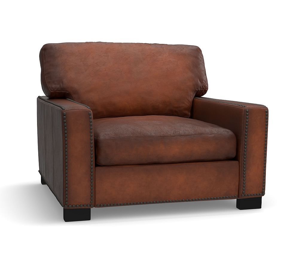 Turner Square Arm Leather Armchair with Nailheads (With