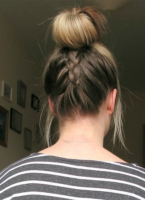 Back Braided Top Knot Hairstyles 2018 #braidedtopknots Back Braided Top Knot Hai…