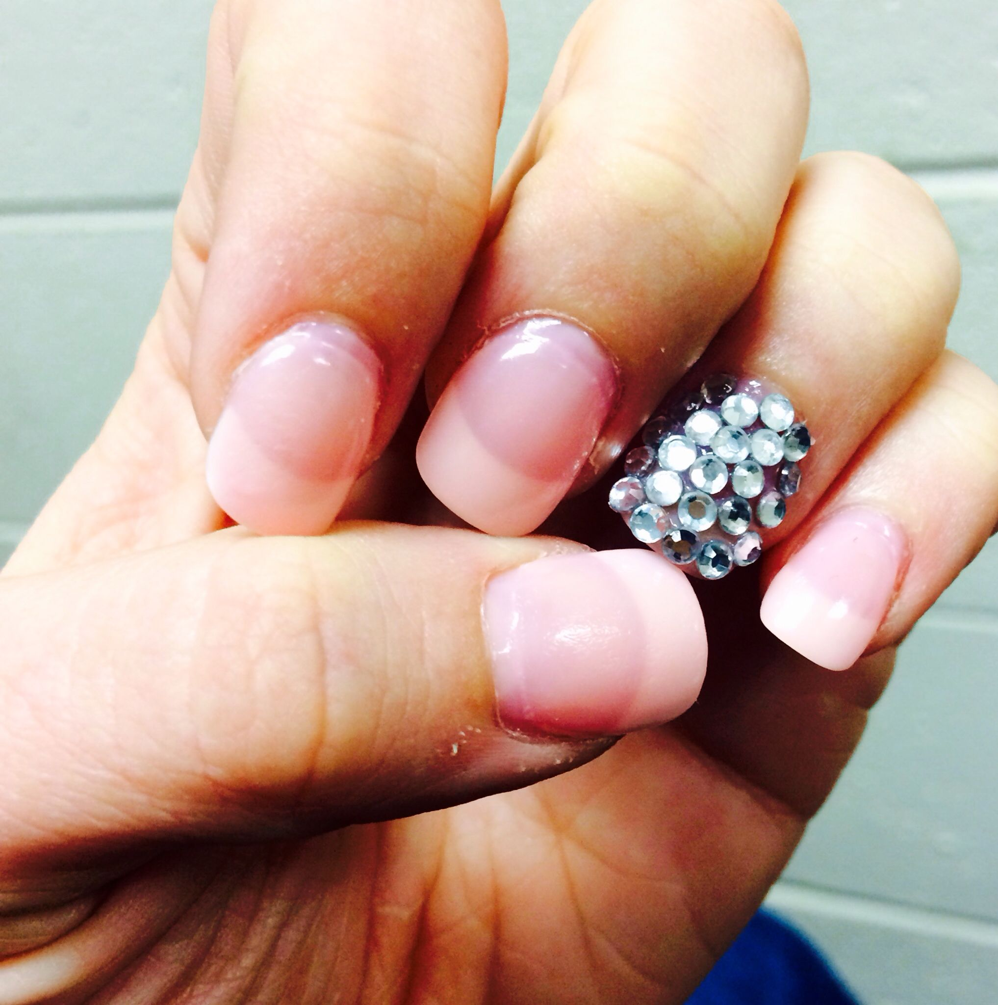 Acrylic nails! French tip. pink nail polish. embellishment. fancy ...