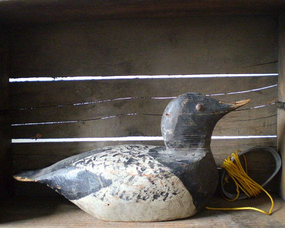 Rustic Black and White Vintage Wooden Duck by smilemercantile