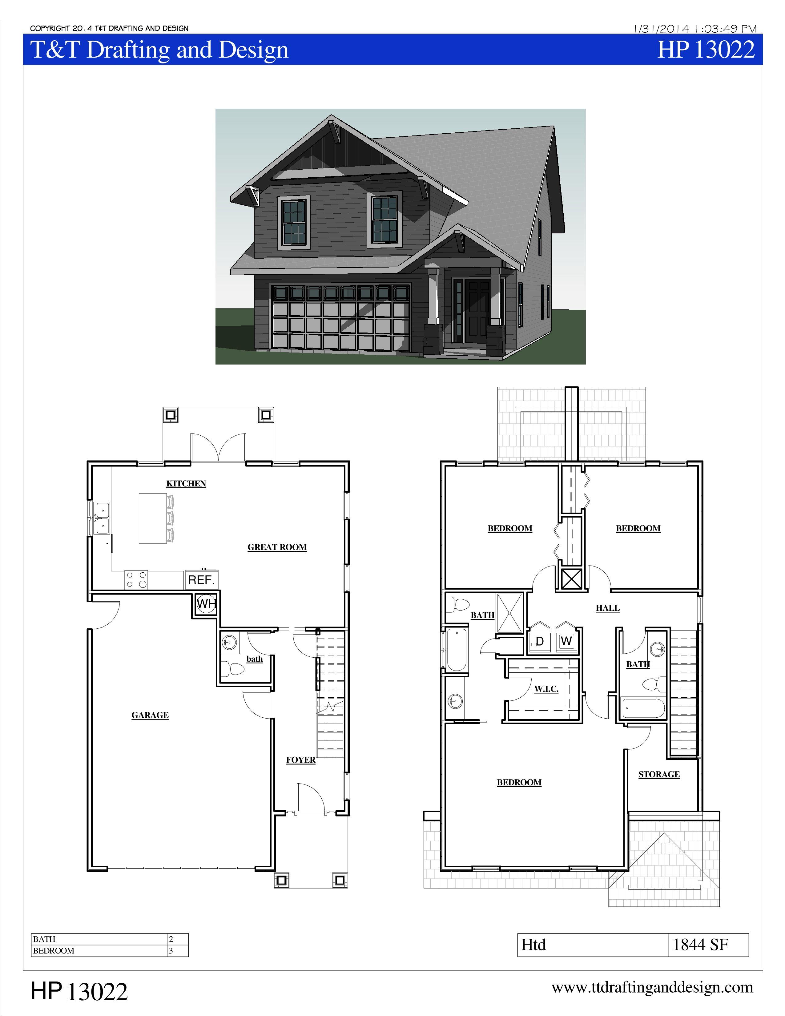Ttd13022 House Plan 3 Bedroom 2 1 2 Bath House Plans Floor