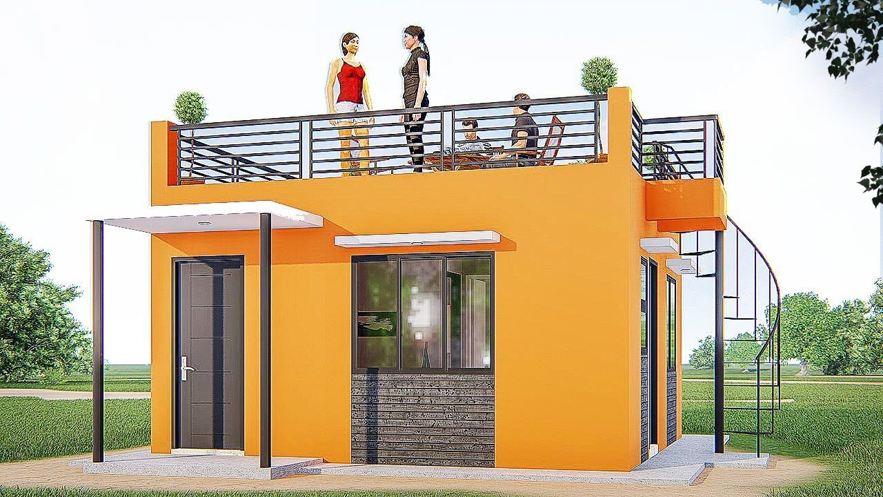 Small House Design With Roof Deck 27sqm Youtube Village House Design Small House Design Kerala Small House Design Plans