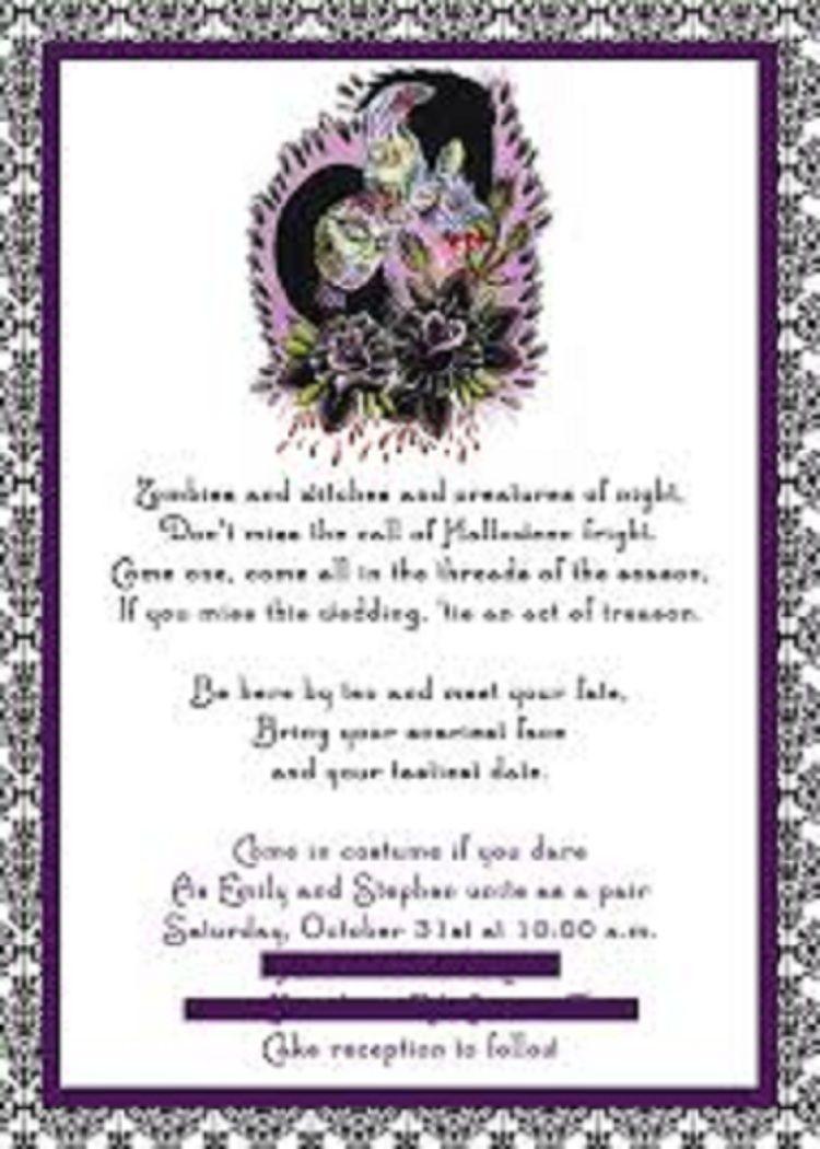 Zombie wedding decorations  halloween wedding invitations gothic halloween  Invitation card