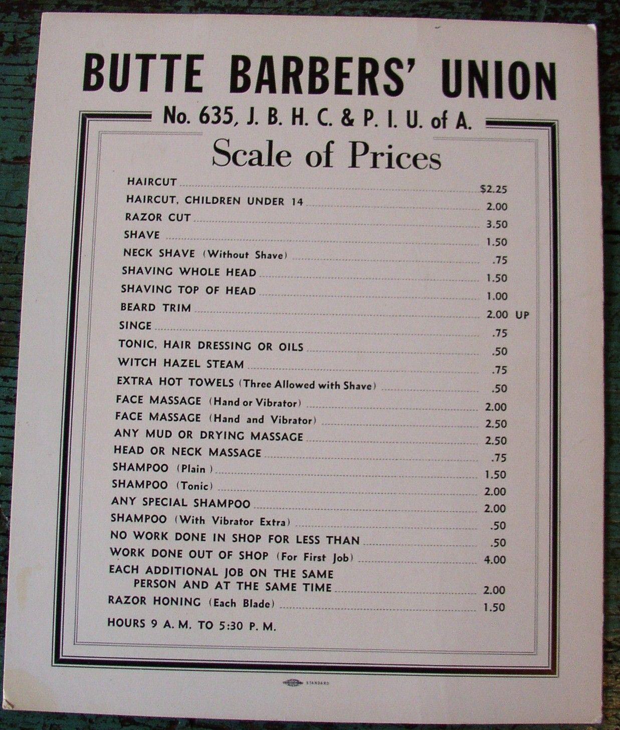 This Barber Shop Price List Has To Make It Into Our Scenic Design For Barbicide Barber Shop Barber Barbershop Design