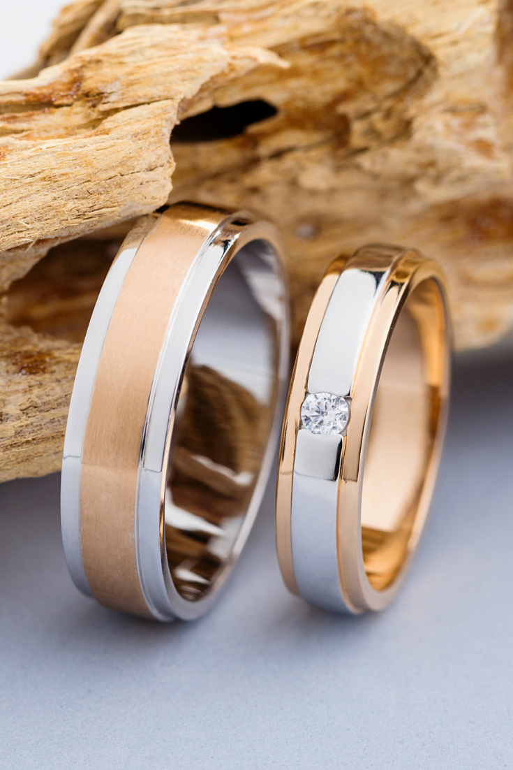 It is a photo of Matching wedding rings. Wedding rings set. Wedding bands his