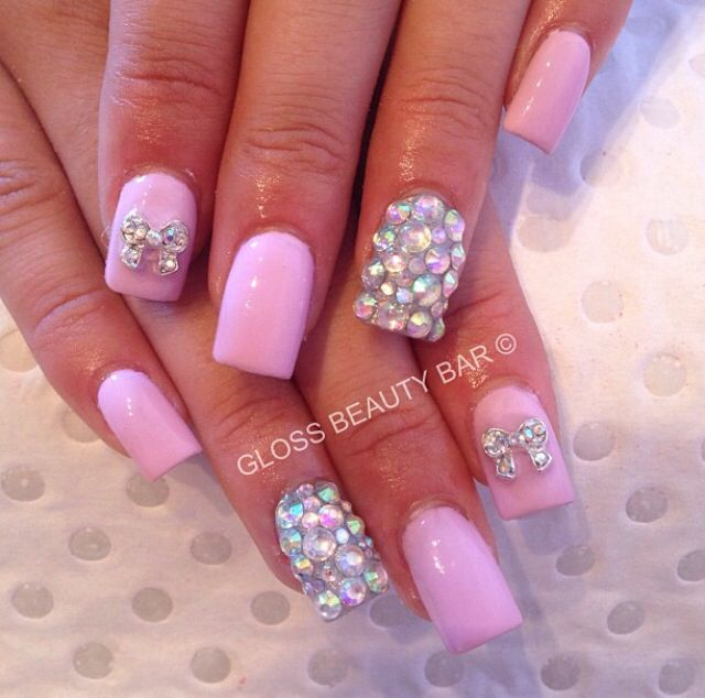Pink and silver 3D nail ideas
