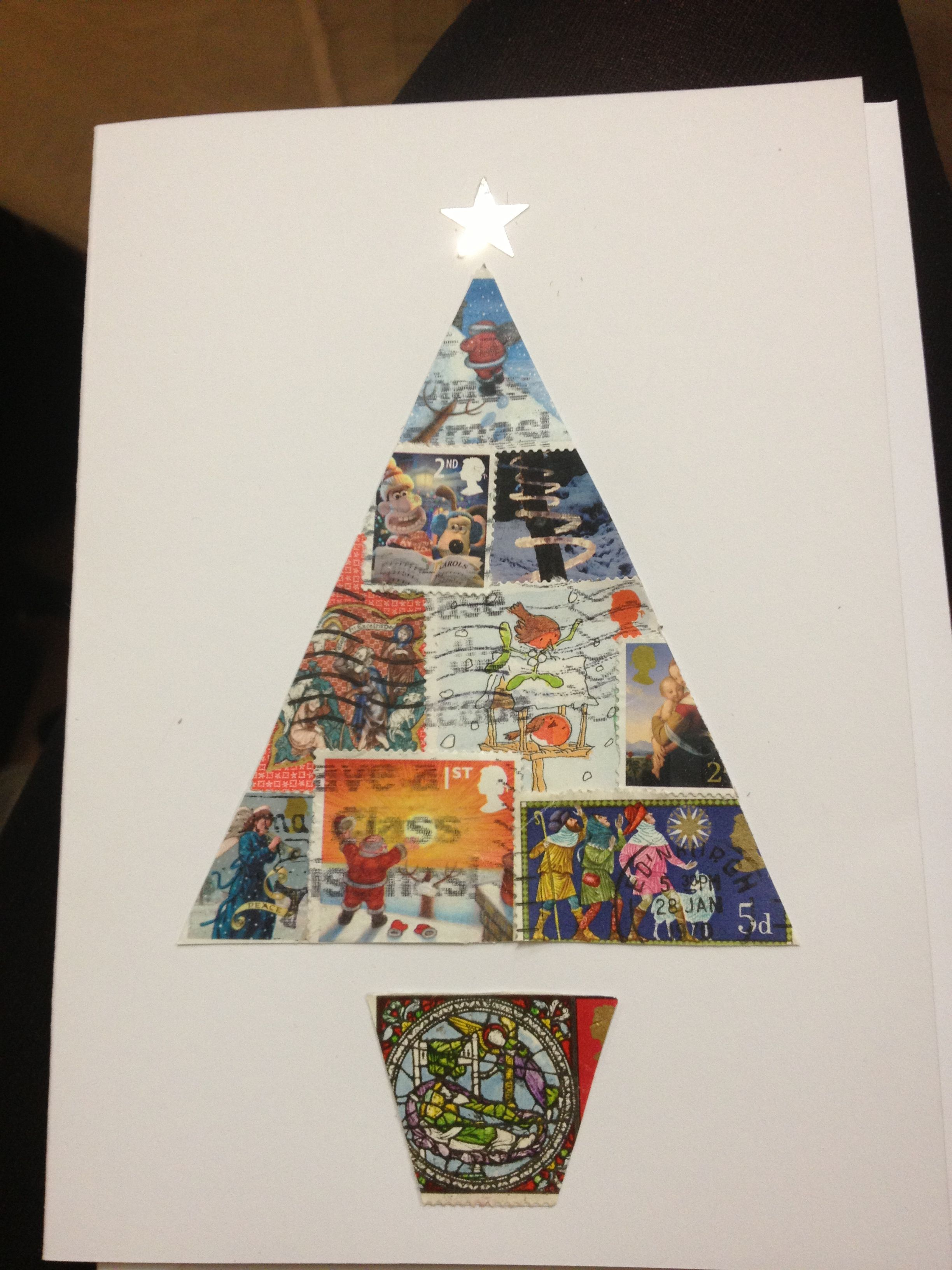 Christmas card made from old Christmas postage stamps (tree) - idea ...