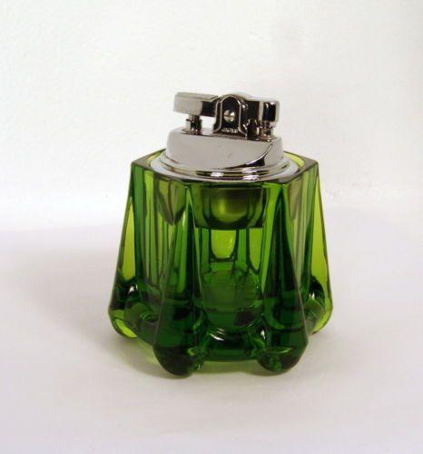 Vintage Mid Century Viking Art Glass Table Lighter Beautiful Emerald Green Works Glass Art Viking Art Glass