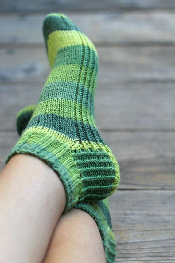 Knit socks, striped socks, ankle socks for women forest green socks ...