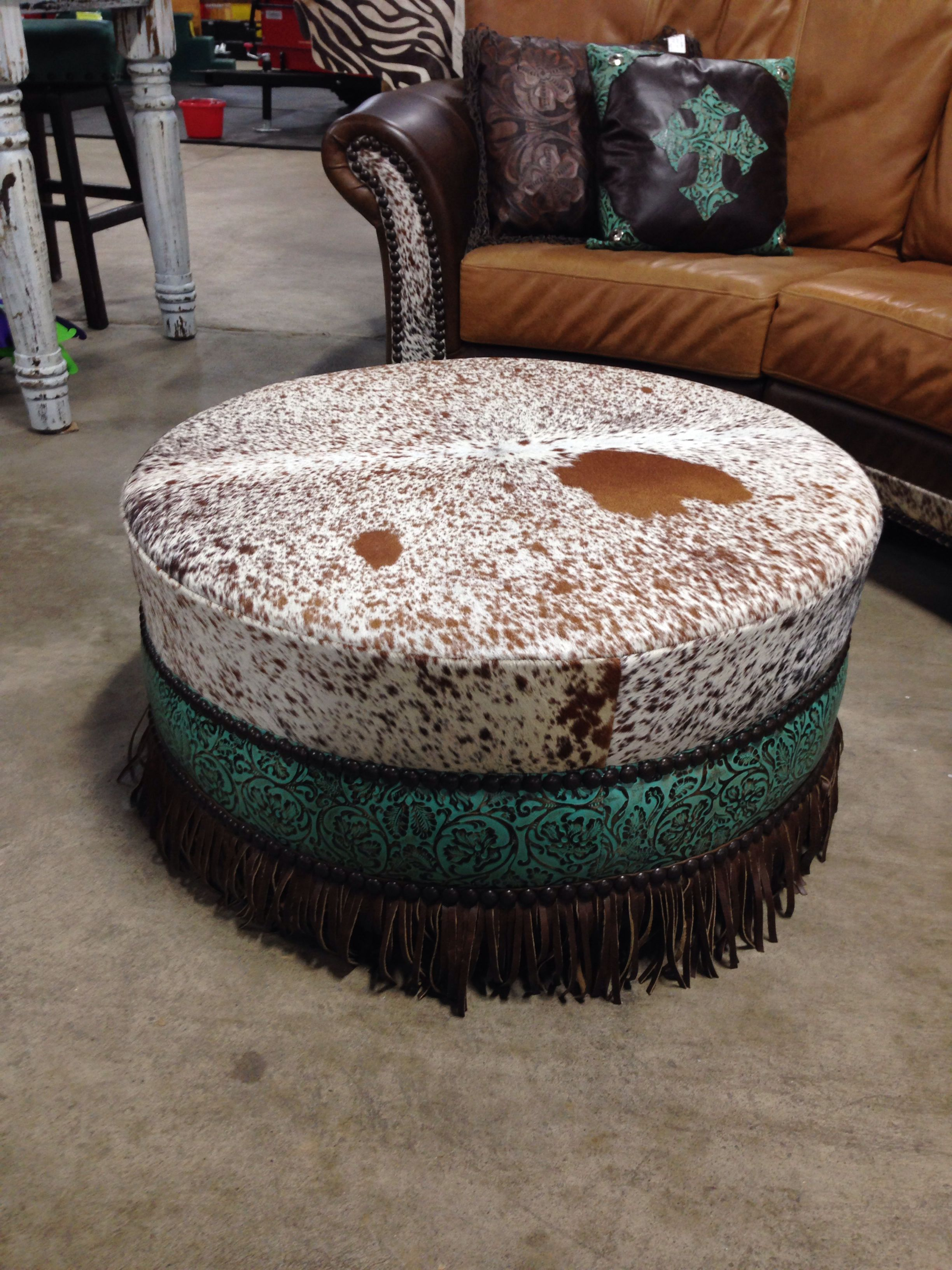 Round Cowhide Ottoman With Fringe