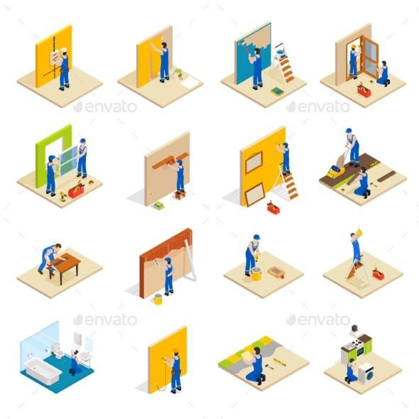 Home repair isometric set envato market vector graphicdesign graphicriver also rh pinterest
