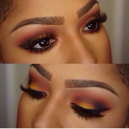 Gorgeous Sunset Eye Makeup for Brown Skin , Makeup for Brown