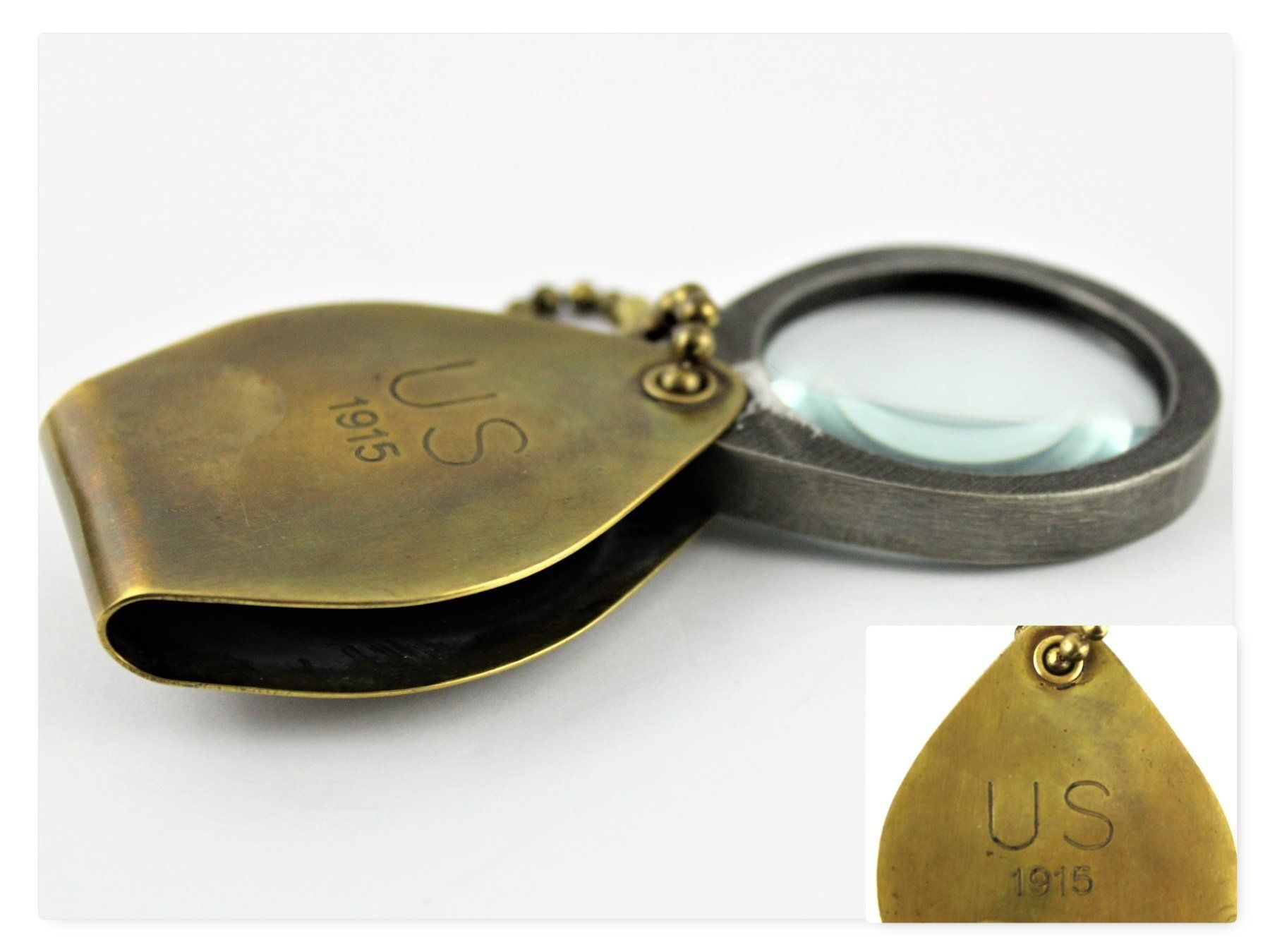 Antique 1915 Military Issue Folding Magnifying Glass In A Brass