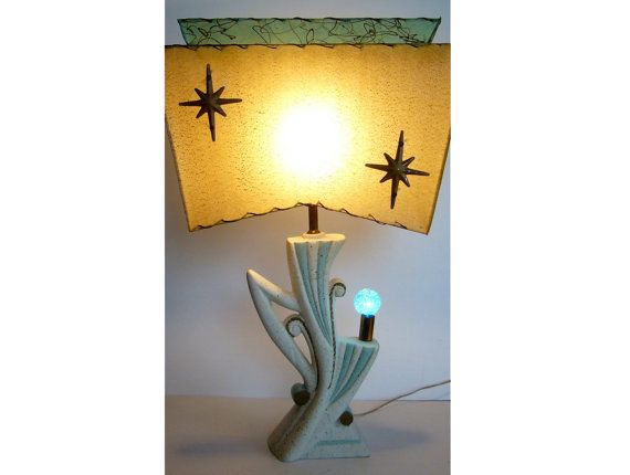Mid Century Modern Lamp Shades Endearing Atomic  Possibly Majestic 1950's  Mid Century Turquoise And Ivory Inspiration Design