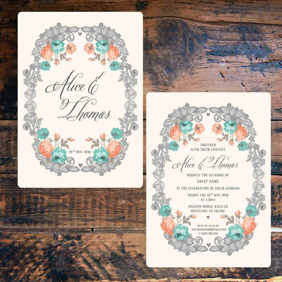 Vintage Lace Floral Wedding Invitations