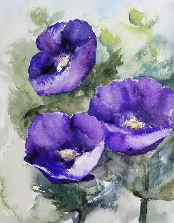 Poppy Original Watercolor Painting Purple Flowers Artwork Abstract