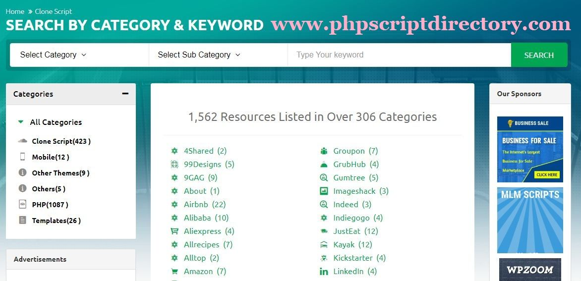 PHP Script Directory is a Directory listing website for Free