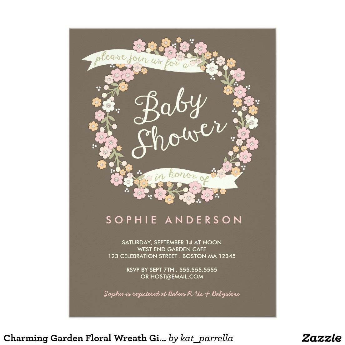 Charming Garden Floral Wreath Girl Baby Shower 5x7 Paper – Garden Party Baby Shower Invitations