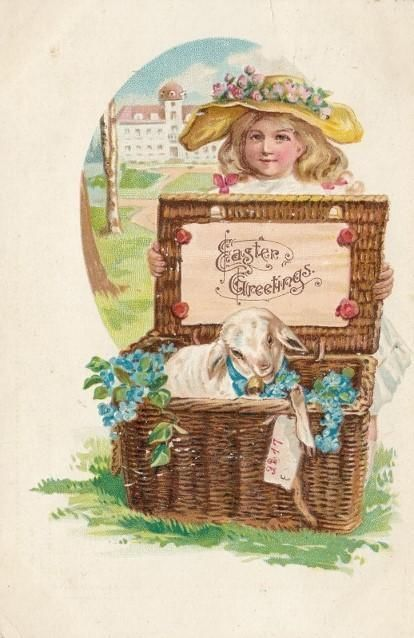 Antique EASTER POSTCARD c1908 Young Girl w. Lamb in Basket Embossed 18019