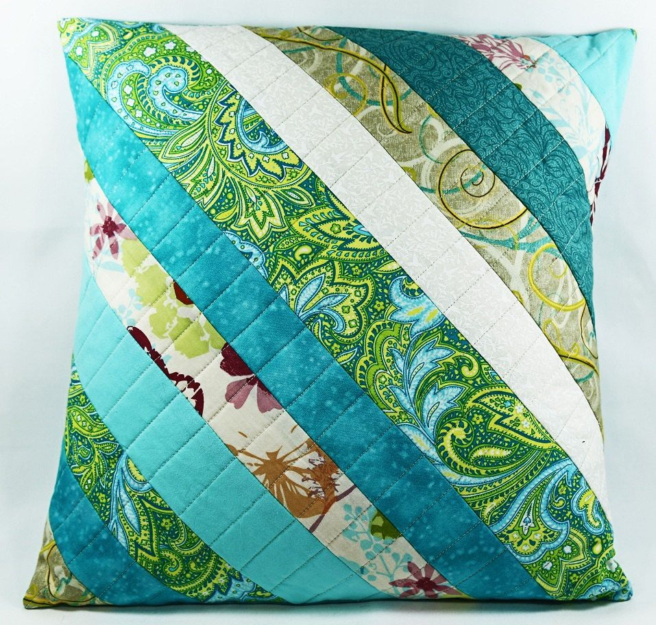 Quilted Pillow Cover 16x16 Quilted Pillow Cover Blue And