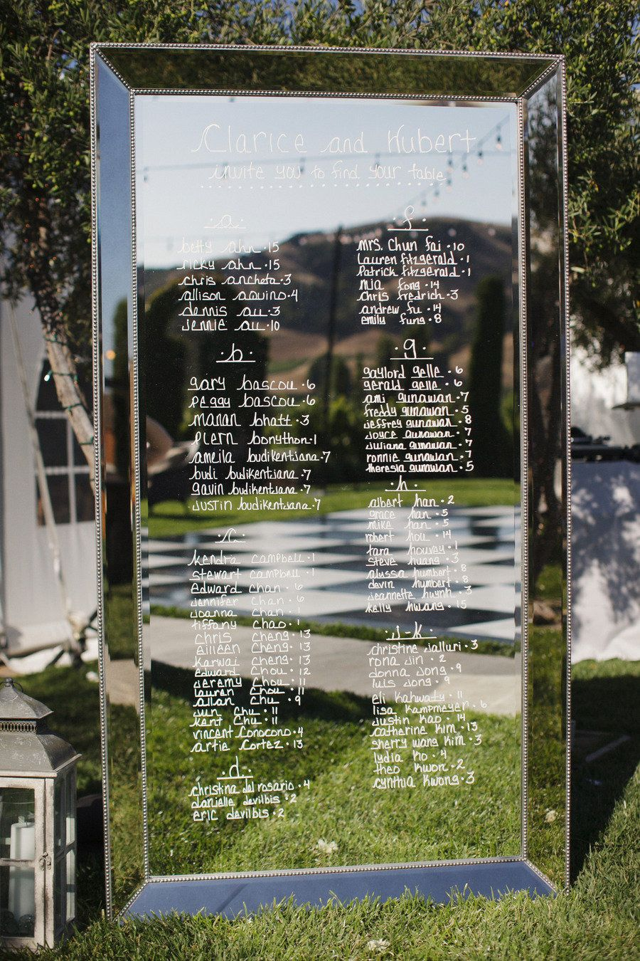 Sonoma Wedding From Nancy Liu Chin Designs Mirror Seating Chart Sonoma Wedding Seating Charts
