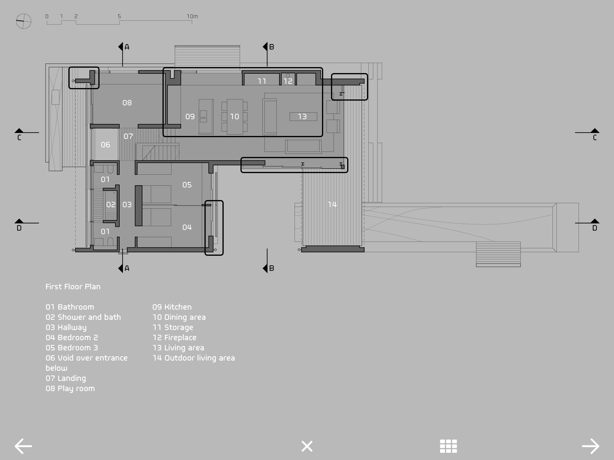 Interactive floor plan in 39 bilgola house tzannes for Interactive floor plans