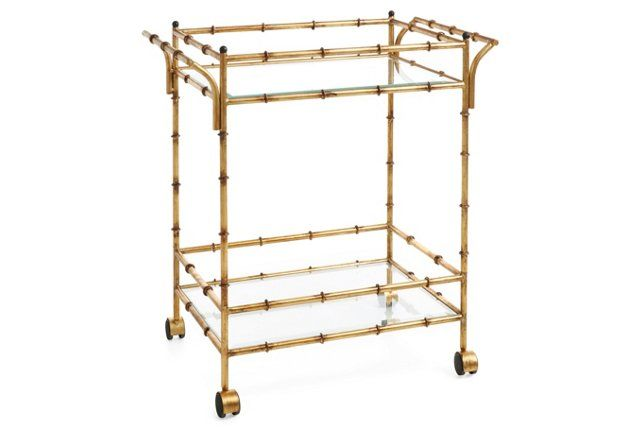 Constantine Bar Cart Gold Bar Cart Bamboo Bar Bar Cart Decor Gold bamboo bar cart