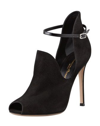 Suede Peep-Toe High-Vamp Sandal by Gianvito Rossi