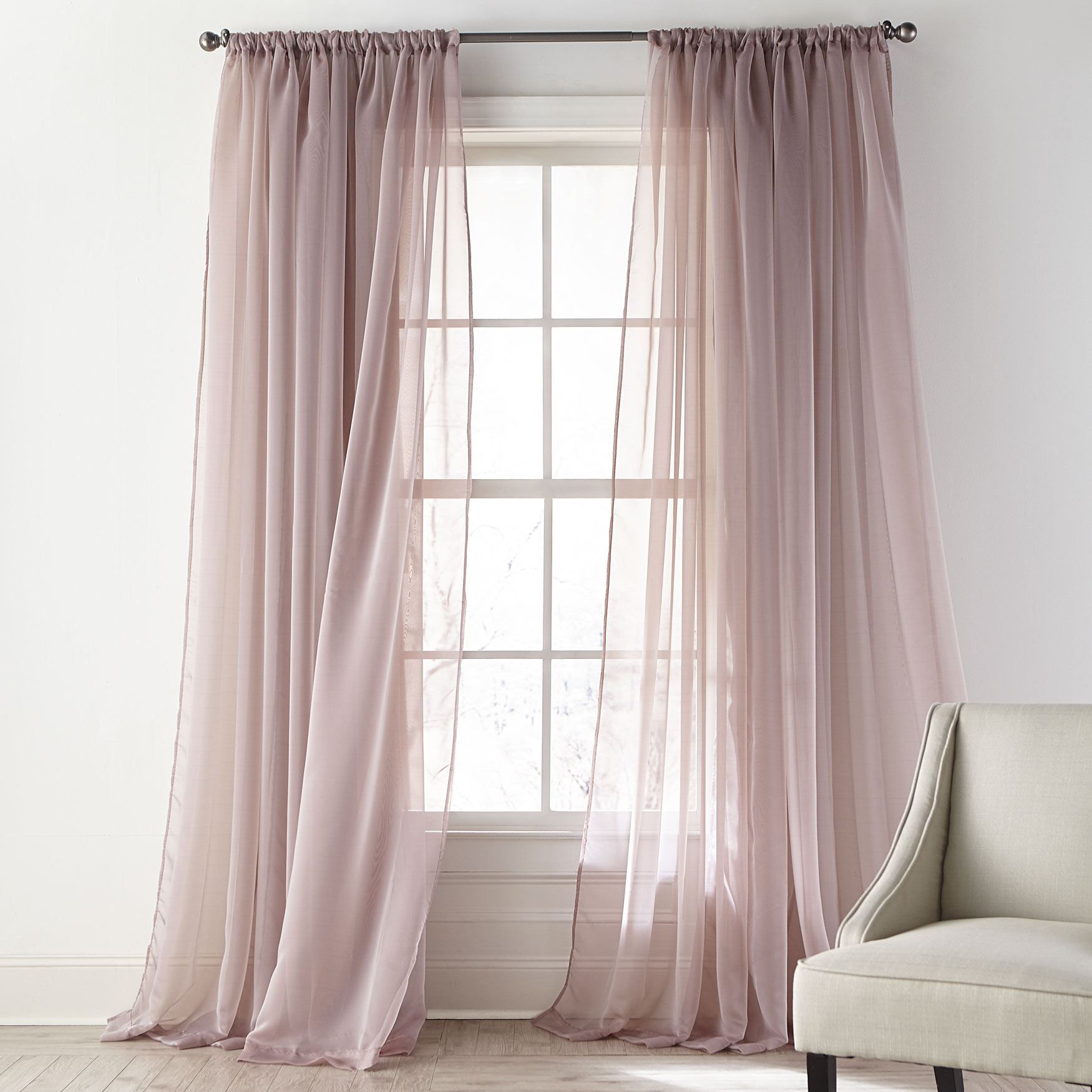 Ophelia Shimmer Curtain Sheer Curtains Brylane Home Sheer Curtains Bedroom Sheers Curtains Living Room Guest Bedroom Decor