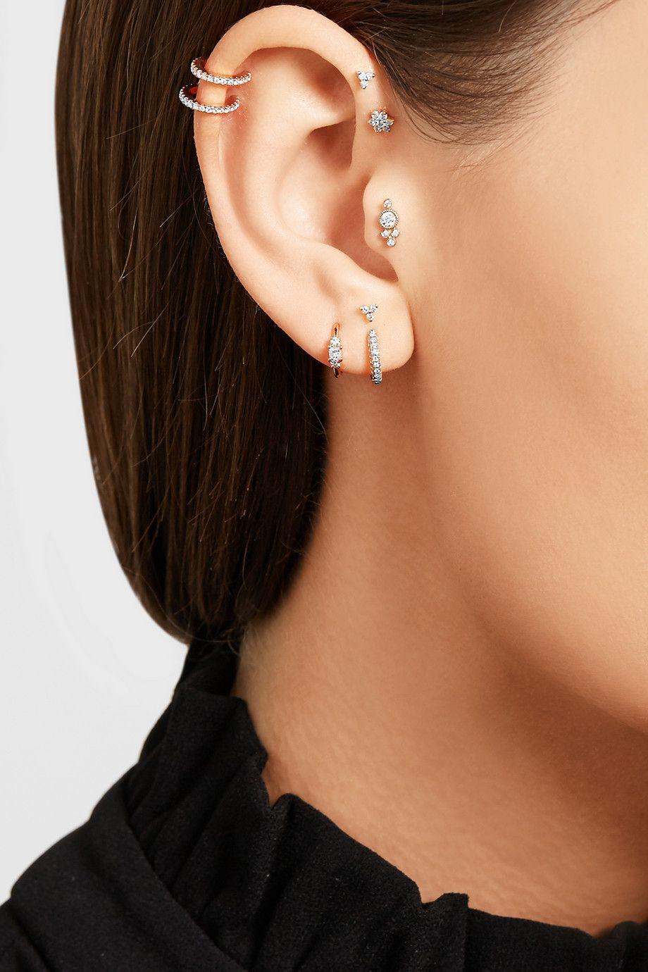 Maria Tash 18 Karat Rose Gold Diamond Earring Net A Porter Com