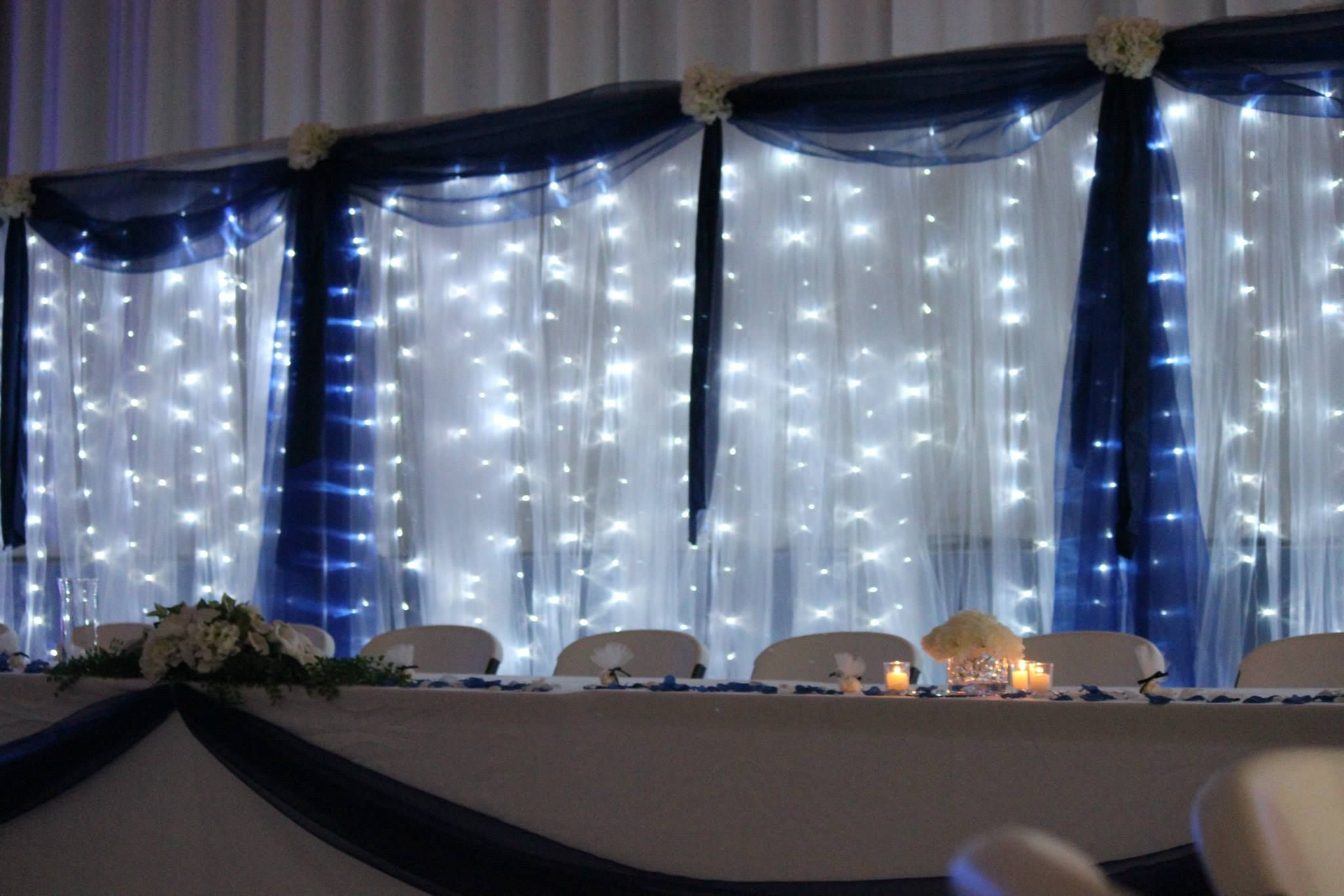 Wedding decorations tulle and lights  Possibly how twinkle lights will look under dark blue tulle