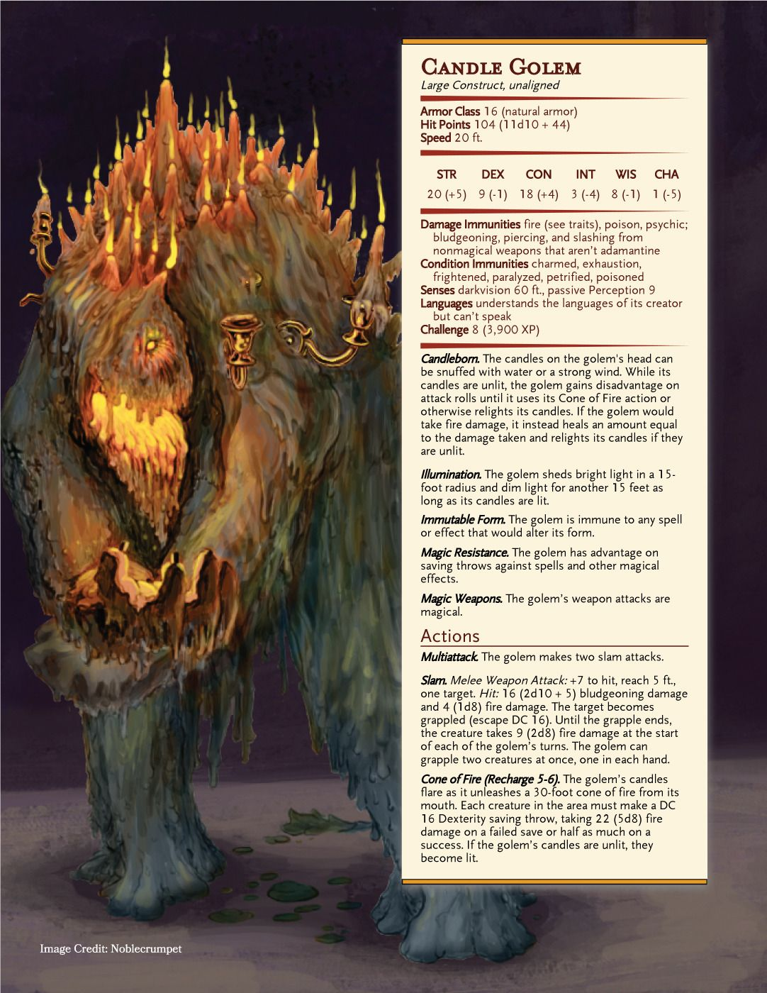 D&D: Maps, Exploration, Treasure, Adventure — Candle Golems