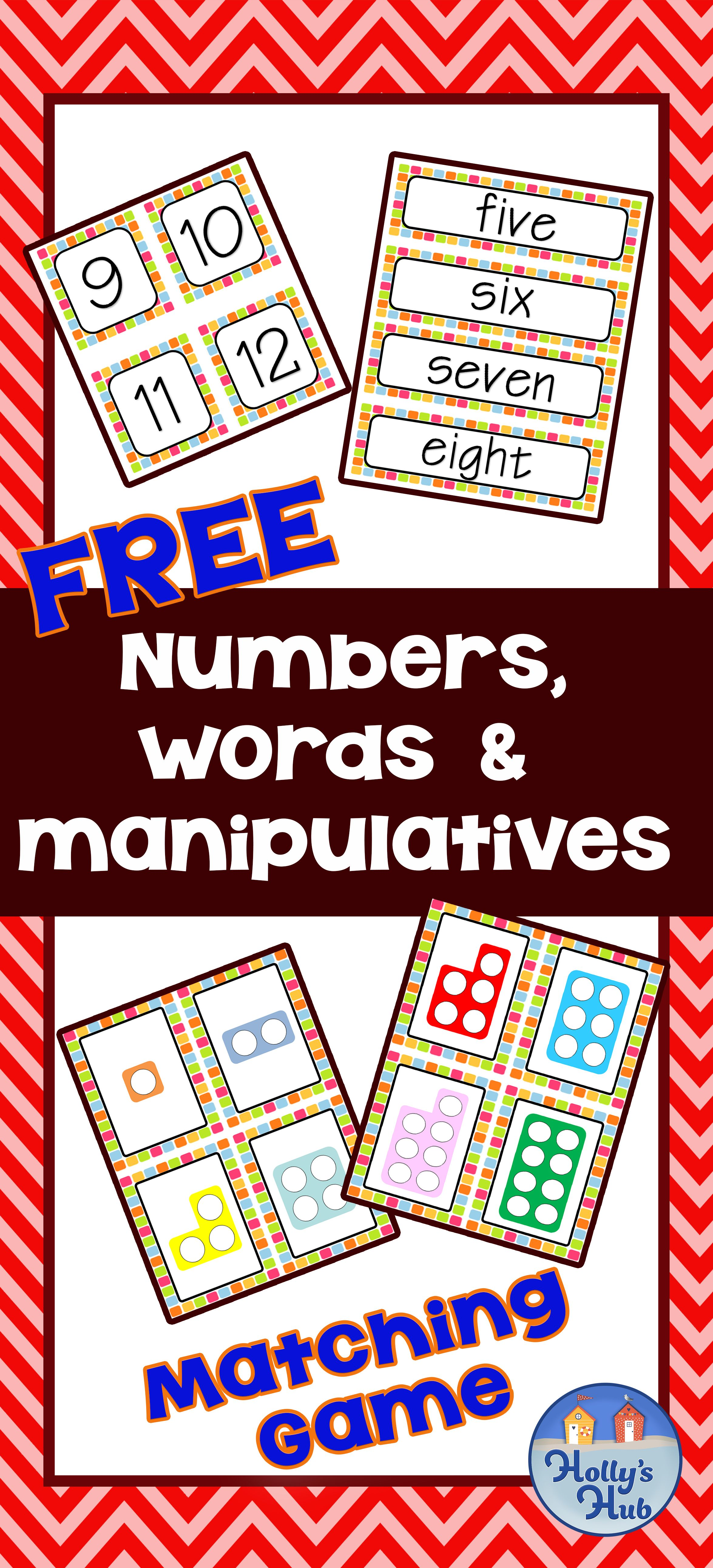 Free numbers words manipulatives matching card game